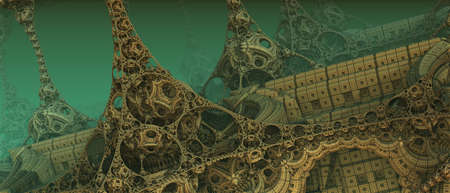 Abstract background 3D, fantastic ancient civilization architecture, gold green render technology illustration. Archivio Fotografico