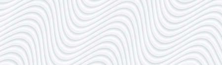 3D white wavy background for business presentation. Abstract flow elegant pattern. Minimalist empty striped blank BG. Halftone monochrome cover with modern minimal color, vector illustration. Vettoriali