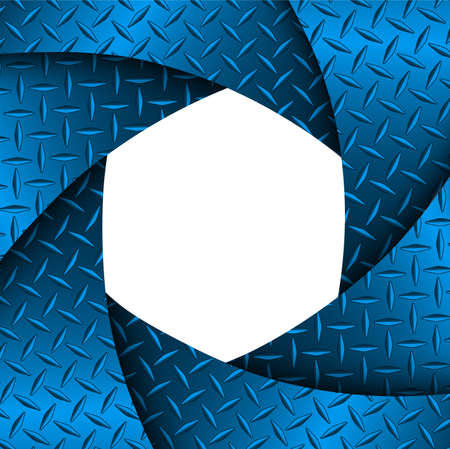 Background with 3D shutter and diamond plate texture, abstract blue technology design, vector illustration.