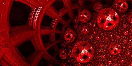 Abstract background, fantastic 3D structures, dark and bloody fictional background. Archivio Fotografico