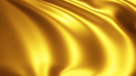 Gold wavy silk texture, golden fabric waves design, 3D render illustration.