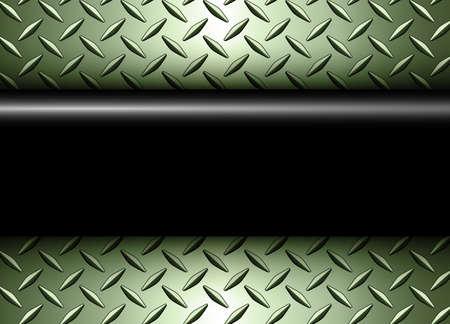 Background 3D silver green metallic, 3d vector design with diamond plate sheet metal texture.