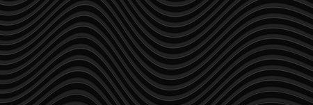 Abstract 3D black wavy background. Minimalist empty striped blank BG for business presentation, vector illustration.