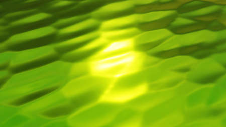 Green metal texture with waves, cracked metallic wavy design, 3D water texture render illustration.
