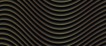 Abstract 3D black wavy background with gold pattern. Minimalist empty striped blank BG vector illustration.