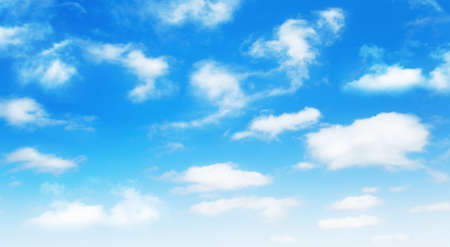 Sunny day background, blue sky with white cumulus clouds, natural summer or spring background with perfect hot day weather, realistic 3D illustration.