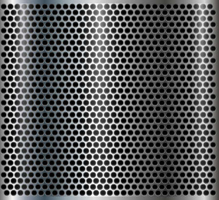 Metallic background with punched holes pattern, technological metal design, 3D vector iilustration.