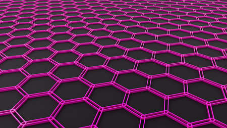 Background with 3D hexagons pattern, purple honeycomb structure on black background, 3D technology interesting texture render illustration.