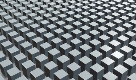 Abstract geometric background stacked gray cubes, 3D render technology illustration.
