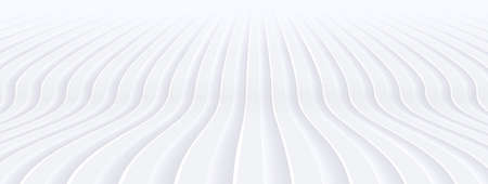 Abstract white background with 3D waves pattern, interesting minimal white gray striped vector background illustration for business presentation minimal neumorphism design. Vector Illustration