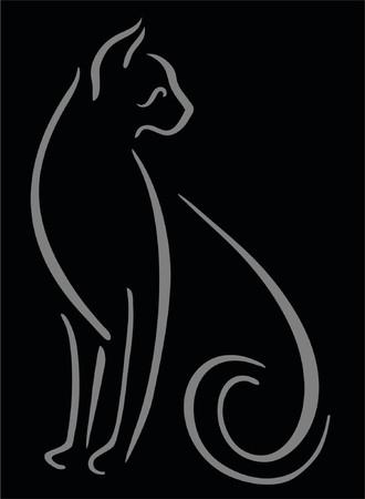 brush stroke: Grey brush stroke cat on black background.