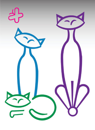 Three multi color retro cats with butterfly.