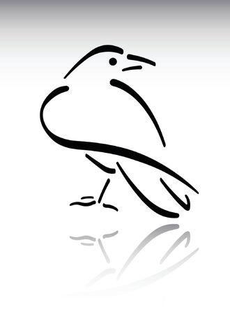 Black brush stroke raven on simple background.
