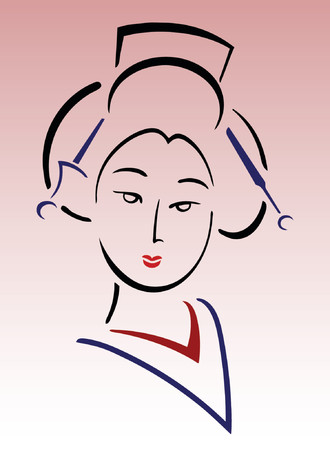stage costume: Lovely geisha isolated on simple gradient background Illustration