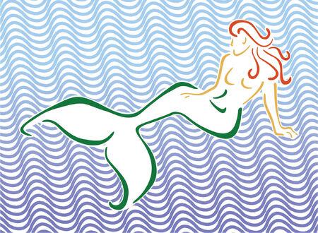 cola mujer: Estilizada Mermaid sentado delante de ola de fondo