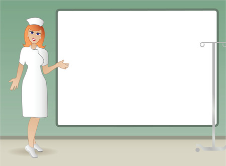 Lovely nurse points to sign as she explains important medical information. Stock Vector - 979449