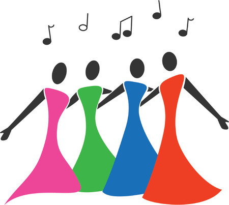 Female barbershop quartet sing in colorful dresses.