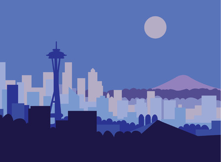 Seattle skyline and Mt Rainer against moonlit sky. Vector