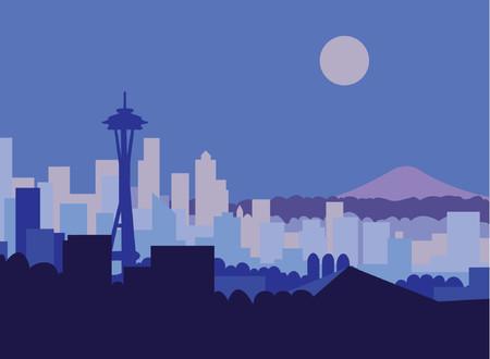 Seattle skyline and Mt Rainer against moonlit sky.