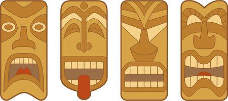 白い背景の上の 4 つの面白いハワイアン Tiki マスク