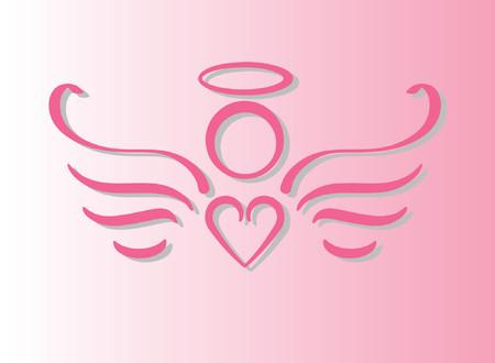 Pink Angel con corazón  Foto de archivo - 1029142