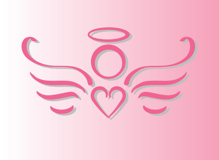 Pink angel with heart