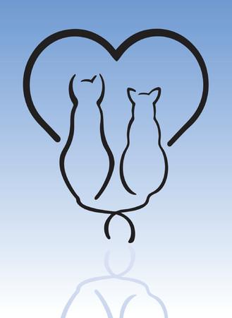 silueta de gato: Gatos en el amor