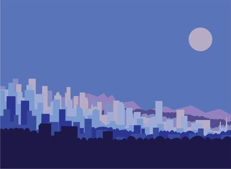 City skyline against moonlit sky.