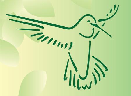 Hummingbird on abstract leaf background Illustration