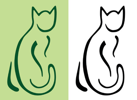 animal silhouette: Stylized Cat in brushstroke-like style Illustration