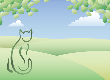 outline drawing: Cat sitting looking over green hills