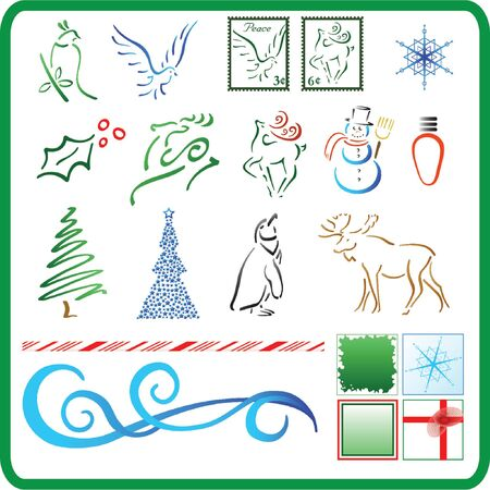 christmas decoration items isolated - vector illustration icons Illustration
