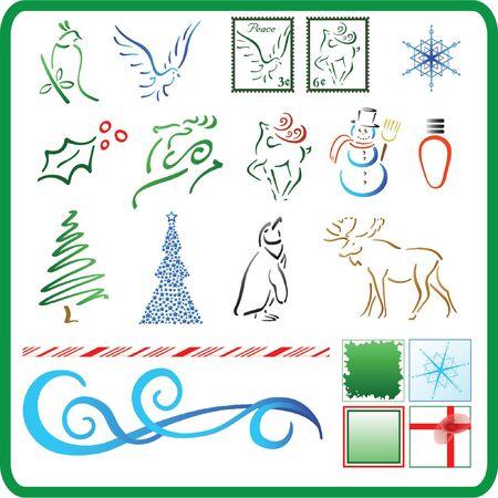 christmas decoration items isolated - vector illustration icons Illusztráció