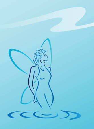 faerie: Blue water fairy on blue shaded background