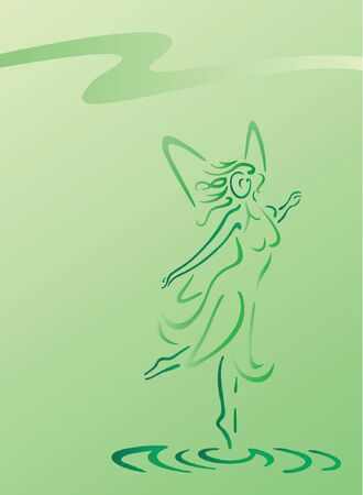 Water fairy in floral dress on green background Illustration