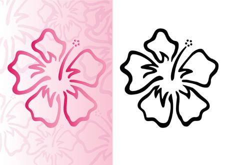ハイビスカス ピンクの花の背景パターン  イラスト・ベクター素材