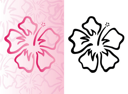 Hibiscus pattern with pink floral background Illustration