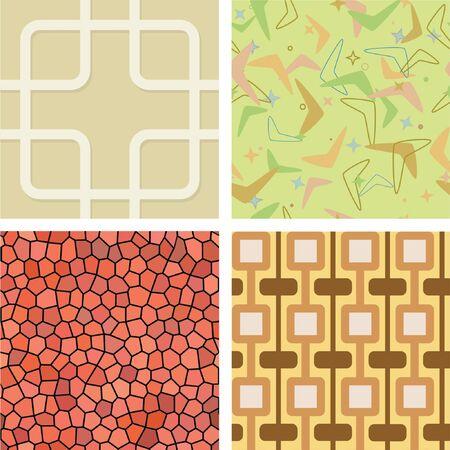 Set of Seamless Retro Tiles Illustration