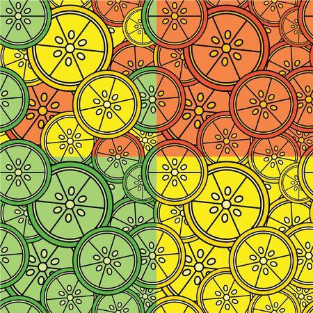 Set of Seamless Citrus Tiles Illustration