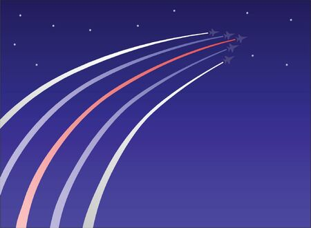 Patriotic jets fly into a starry sky Illustration