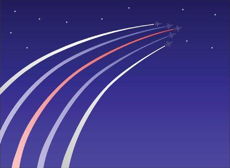 Patriotic jets fly into a starry sky Illusztráció