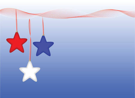 Red white and blue star ornaments hang from ribbon design