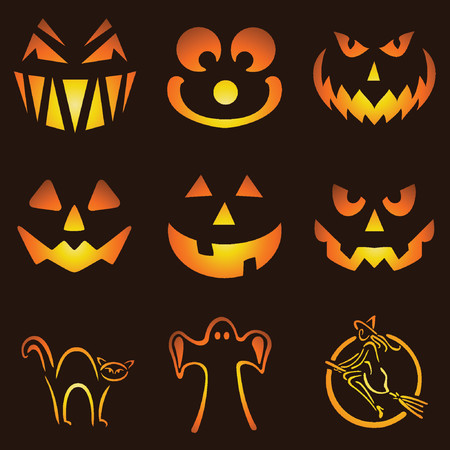 Nine Glowing Jack O Lantern Designs Stock Vector - 1155993