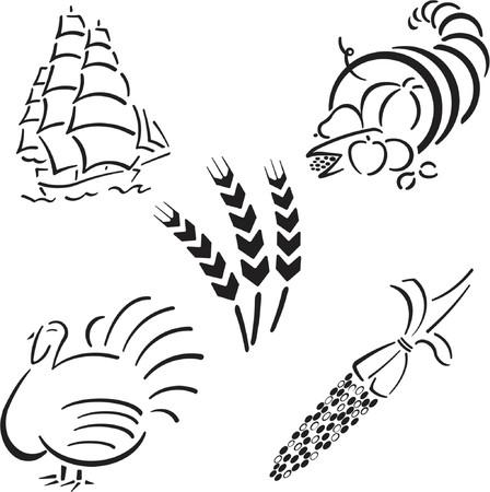 Thanksgiving Design Set Ilustracja