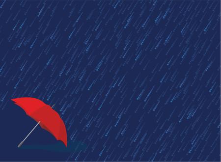 Red umbrella sits in heavy downpour of rain Vector
