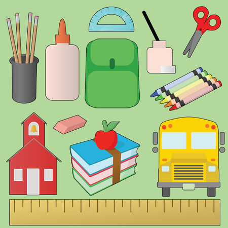 pastelky: Back to School Design Set Ilustrace