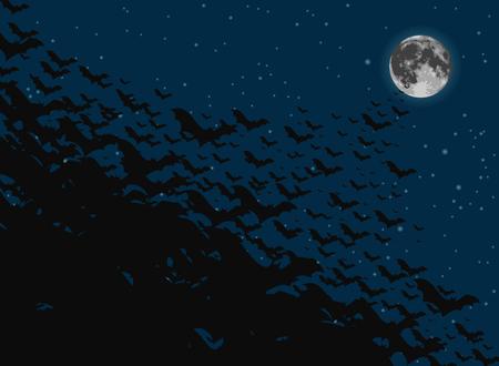 Flock of bats flying toward the full moon Illustration