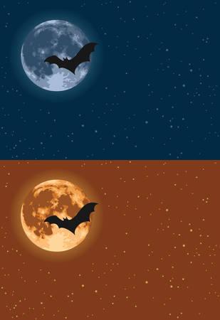 Bat flying across the full moon
