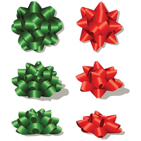 Christmas Bow Design Set Vector