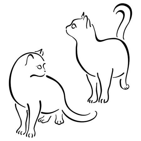 silueta de gato: Gatos estilizada en pincelada de estilo